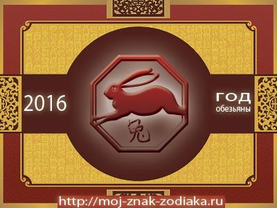Кролик - гороскоп восточный на 2016 год Обезьяны
